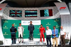 Podium : le vainqueur Alexander Albon, DAMS, le deuxième, George Russell, ART Grand Prix, le troisième, Antonio Fuoco, Charouz Racing System