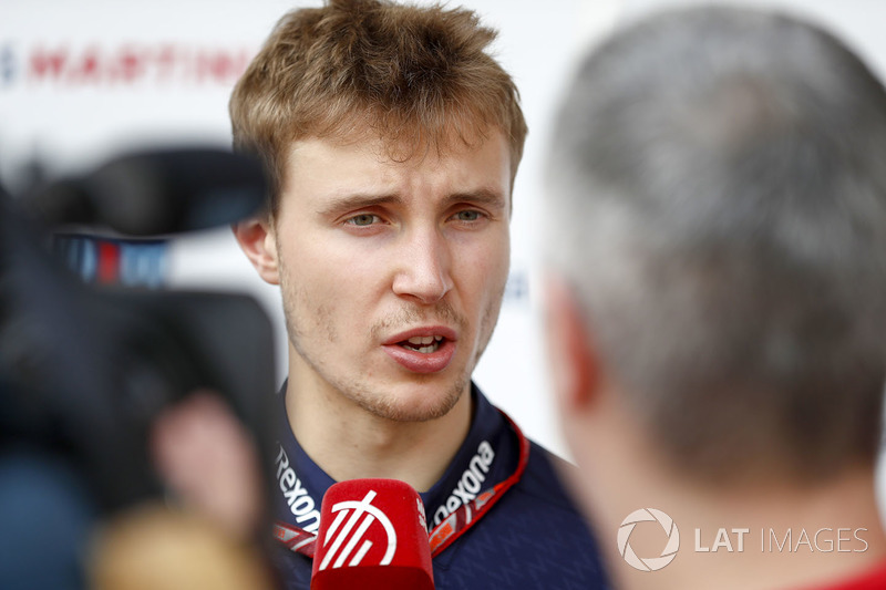Sergey Sirotkin, Williams Racing, talks to the press