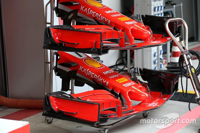 Ferrari SF71H, első szárnyak összevetése