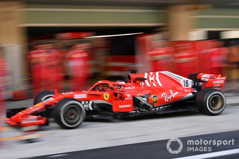 Шарль Леклер, Ferrari SF71H із пошкодженим понтоном