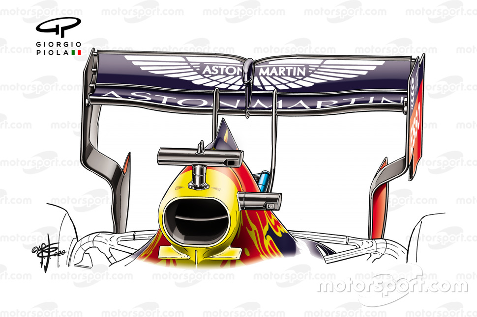 Red Bull Racing RB16 rear wing, 70th Anniversary GP