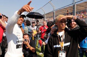 Lewis Hamilton, Mercedes AMG F1, with Jaden Smith