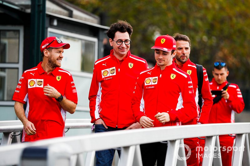 Sebastian Vettel, Ferrari, Mattia Binotto, Team Principal Ferrari and Charles Leclerc, Ferrari on the way to the Federation Square event