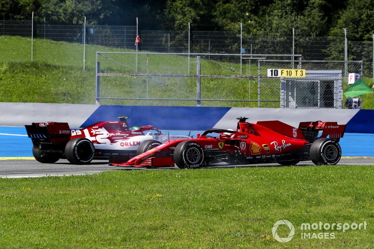 Sebastian Vettel, Ferrari spins after making contact with Carlos Sainz Jr., McLaren MCL35 as Antonio Giovinazzi, Alfa Romeo Racing C39 passes