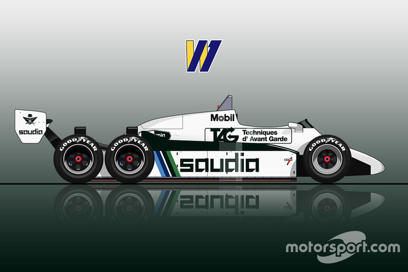 The 6-wheel Williams FW08D