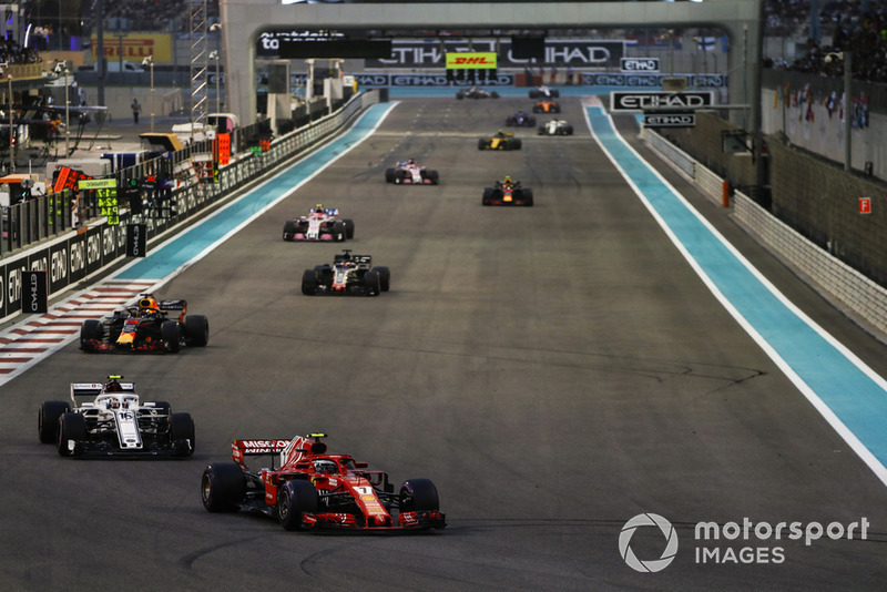Kimi Raikkonen, Ferrari SF71H, Charles Leclerc, Sauber C37, Daniel Ricciardo, Red Bull Racing RB14, Romain Grosjean, Haas F1 Team VF-18, Esteban Ocon, Racing Point Force India VJM11