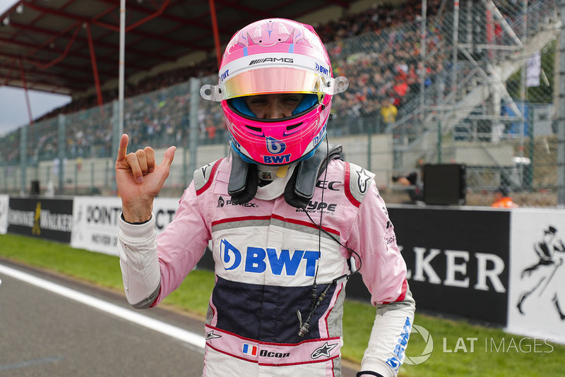 Esteban Ocon, Racing Point Force India, fête sa troisième place en qualifications