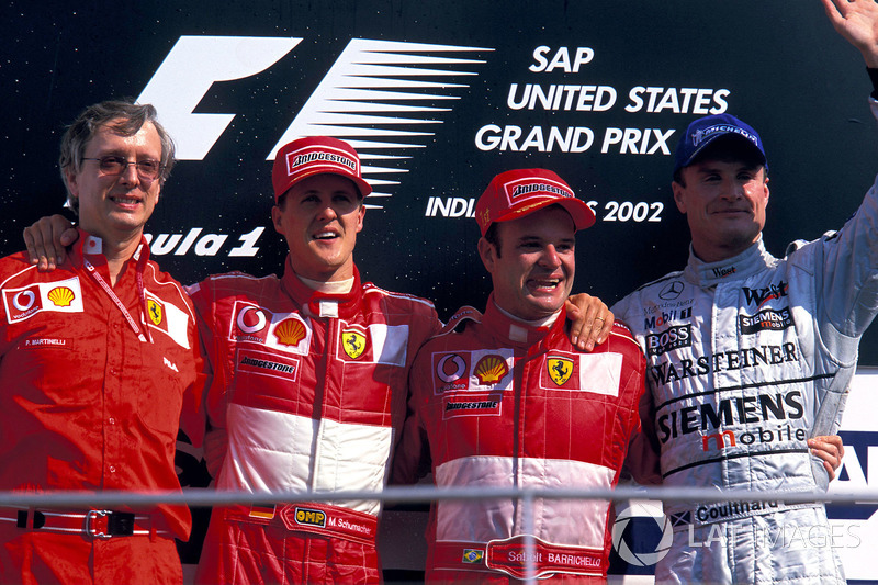 2002 : 1. Rubens Barrichello, 2. Michael Schumacher, 3. David Coulthard