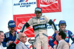 Podio: il vincitore della gara Nelson Piquet, Brabham, il secondo classificato Keke Rosberg, William