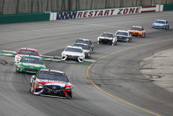 Kyle Busch, Joe Gibbs Racing, Toyota Camry Snickers Intense, Paul Menard, Wood Brothers Racing, Ford Fusion Menards / Quaker State, and Ryan Blaney, Team Penske, Ford Fusion DEX Imaging