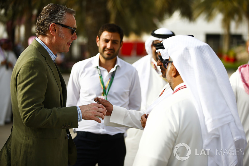 Sean Bratches, Managing Director of Commercial Operations, Formula One Group, talks with Crown Prince Shaikh Salman bin Hamad Al Khalifa and his entourage