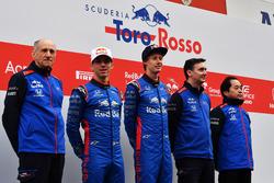 Franz Tost, Scuderia Toro Rosso Team Principal, Pierre Gasly, Scuderia Toro Rosso, Brendon Hartley, Scuderia Toro Rosso and James Key, Scuderia Toro Rosso Technical Director