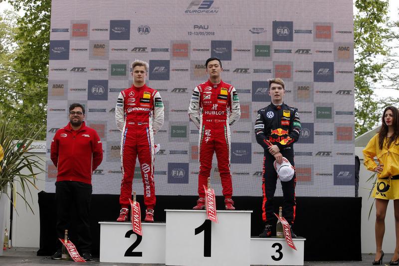 Подиум: победитель Гуанью Чжоу, второе место – Ральф Арон, PREMA Theodore Racing, третье место – Дэн Тиктум, Motopark