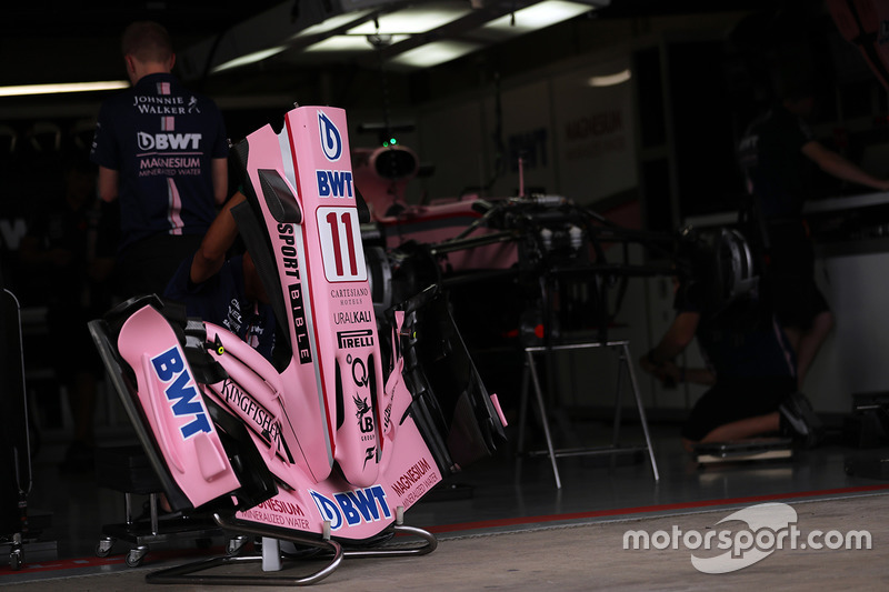 The bodywork detail of Sergio Perez, Sahara Force India VJM10 in the garage