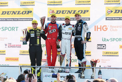 Podium, Senna Proctor, Power Maxed Racing Vauxhall Astra, Jack Goff, Eurotech Racing Honda Civic Type R, Colin Turkington, West Surrey Racing BMW 125i M Sport and Tom Ingram, Speedworks Motorsport Toyota Avensis