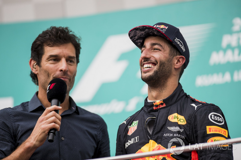 Mark Webber, TV Pundit, Channel 4 F1, interviews third place Daniel Ricciardo, Red Bull Racing, on the podium