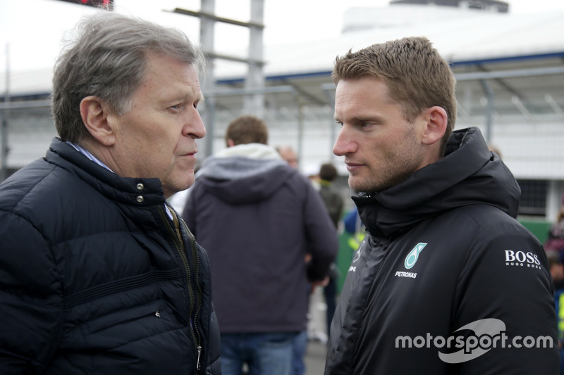 Norbert Haug, ARD-TV Expert and Maro Engel, Mercedes-AMG Team HWA, Mercedes-AMG C63 DTM