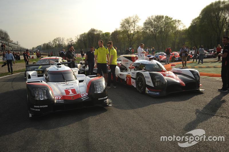 #1 Porsche Team, Porsche 919 Hybrid: Neel Jani, Andre Lotterer, Nick Tandy1; #7 Toyota Gazoo Racing, Toyota TS050 Hybrid: Mike Conway, Kamui Kobayashi, Yuji Kunimoto