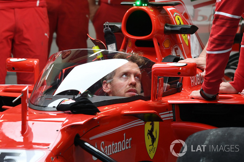 Sebastian Vettel, Ferrari SF70-H, avec le Bouclier