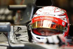 Kevin Magnussen, Haas F1 Team, in cocpkpit, helmet visor raised