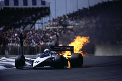 Andrea de Cesaris' BMW engine blows up