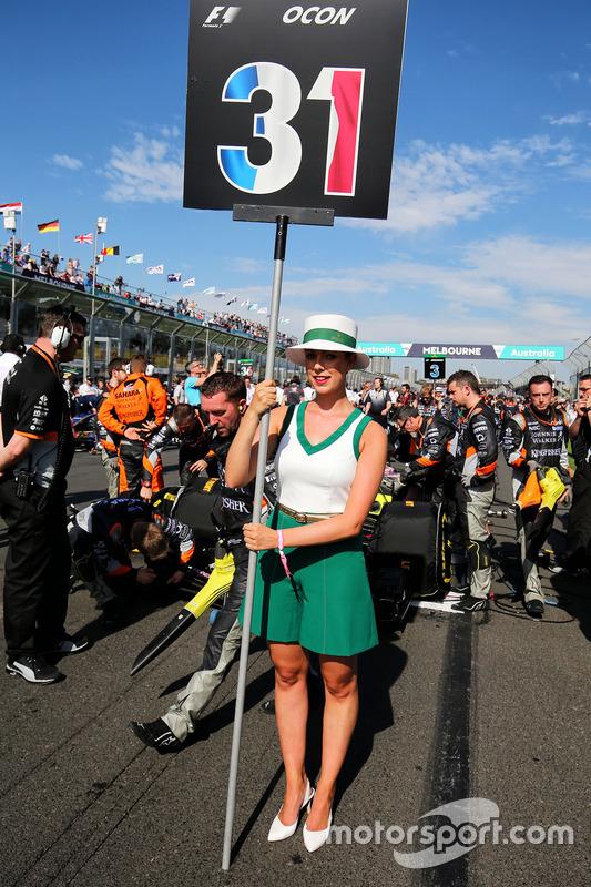 La chica de la parrilla de Esteban Ocon, Sahara Force India F1 Team