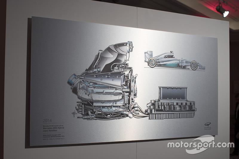 Una ilustración de Giorgio Piola sobre el Mercedes W05 Hybrid 2014 de Lewis Hamilton.