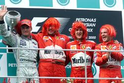 Podium: second place David Coutlhard, McLaren; Ross Brawn, Ferrari; Race winner Michael Schumacher, Ferrari; third place Rubens Barrichello, Ferrari