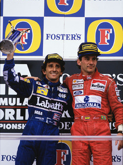 Podium: Race winner Ayrton Senna, McLaren; second place Alain Prost, Williams