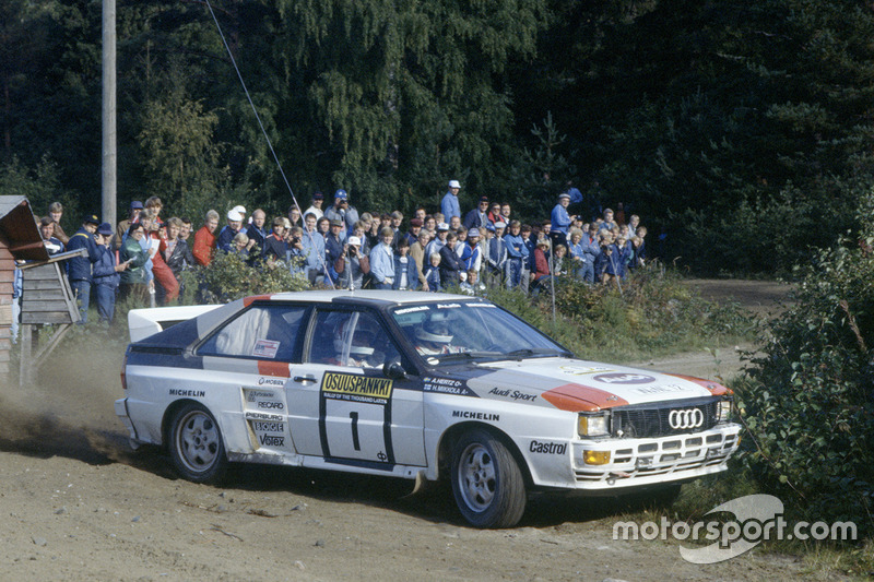 Hannu Mikkola, Arne Hertz, Audi Quattro on their way to 1000 Lakes victory in 1983, the year they clinched the championship.