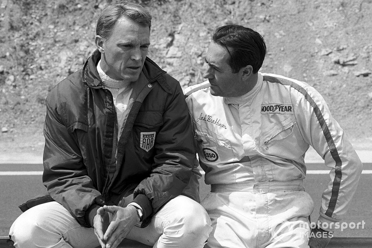 Gurney with Brabham in 1970, the last year either of them would start a Grand Prix. Dan had all-but retired from driving, but subbed at McLaren for three races in the immediate aftermath of Bruce McLaren's death.