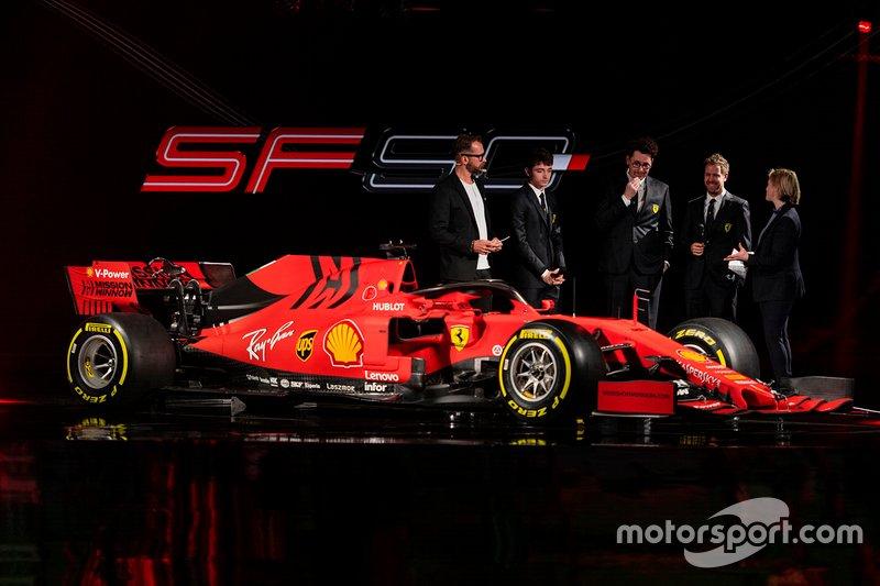 Charles Leclerc, Ferrari, Sebastian Vettel, Ferrari, Mattia Binotto, Ferrari Team Principal