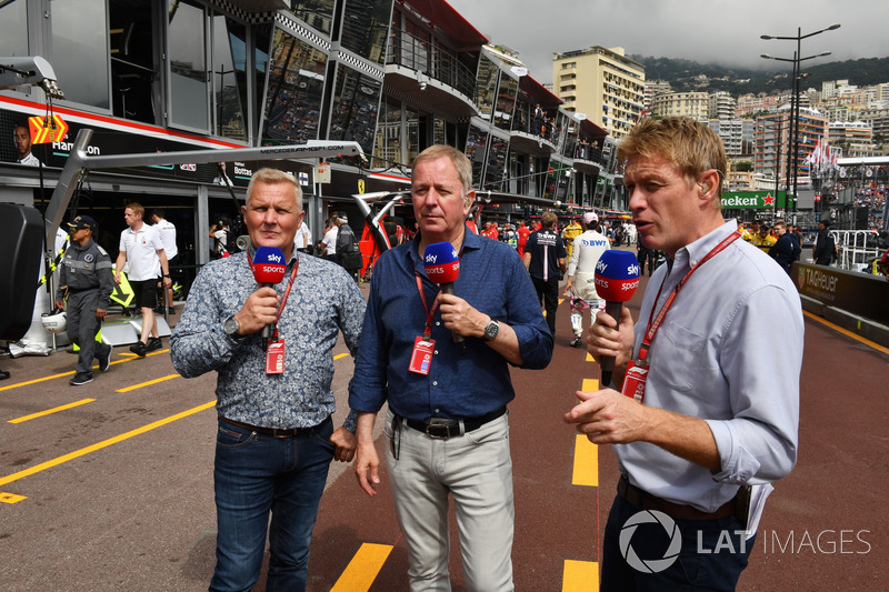 Johnny Herbert, Sky TV, Martin Brundle, Sky TV and Simon Lazenby, Sky TV
