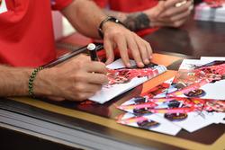 Sebastian Vettel, Ferrari autograph cards at the autograph session