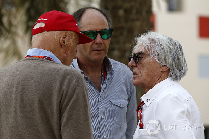 Niki Lauda, Mercedes AMG F1 Non-Executive Chairman, Gerhard Berger, and Bernie Ecclestone