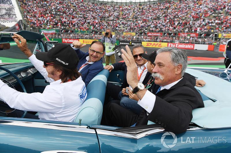 Emerson Fittipaldi, Alejandro Soberon,  Chase Carey,