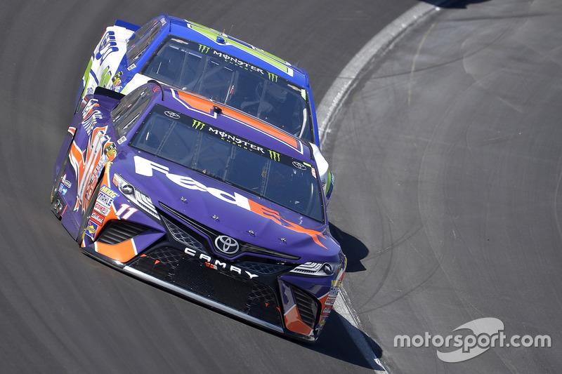 Denny Hamlin, Joe Gibbs Racing, Toyota; Ty Dillon, Germain Racing, Chevrolet