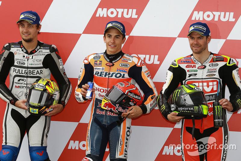 Calificación: segundo puesto Karel Abraham, Aspar Racing Team, ganador de la pole Marc Márquez, Reps