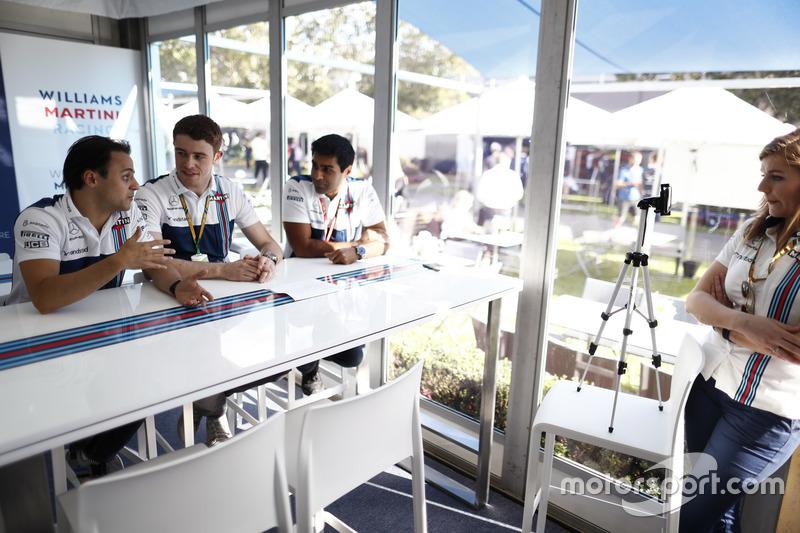 Felipe Massa, Williams, mit Paul di Resta und Karun Chandhok bei Williams