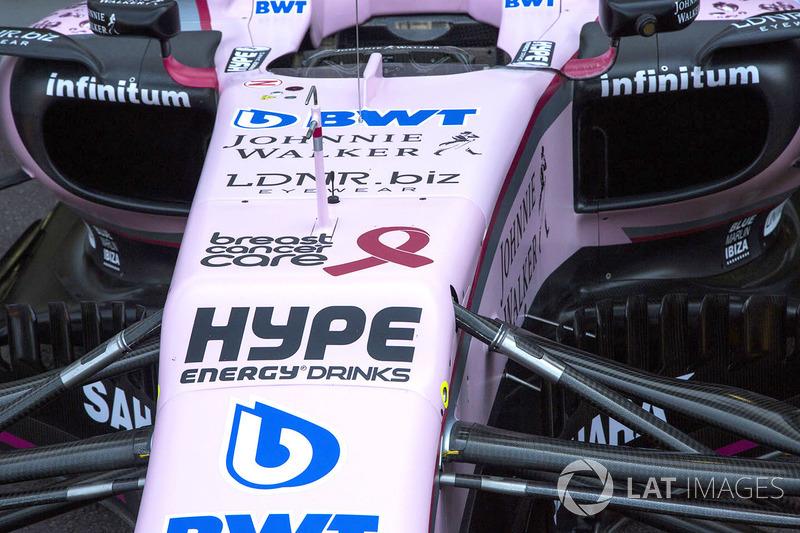 Logo de la Asociación de tratamiento del cáncer de mama en la nariz de Force India VJM10