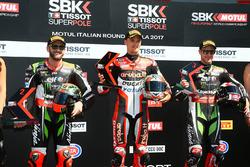 Polesitter Chaz Davies, Ducati Team, second place Tom Sykes, Kawasaki Racing, third place Jonathan Rea, Kawasaki Racing