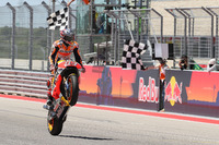 Marc Marquez, Repsol Honda Team, takes the checkered flag