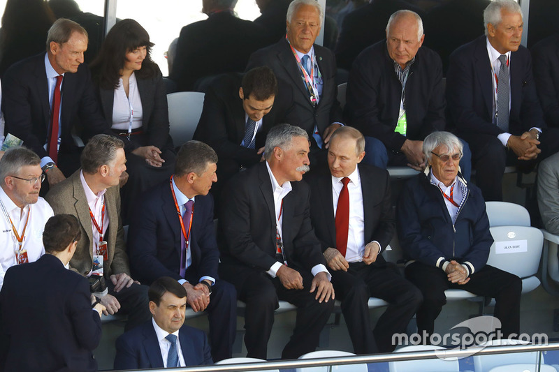 Ross Brawn, Managing Director of Motorsports, FOM, Sean Bratches, Managing Director of Commercial Operations, Formula One Group, Russian Prime Minister Dimitry Medvedev, Chase Carey, Chairman, Formula One, President Vladimir Putin and Bernie Ecclestone, Chairman Emeritus of Formula 1