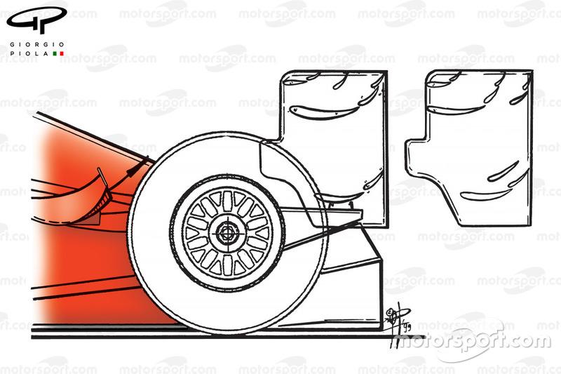 Diferencias de los alerones traseros del Ferrari F399 de 1999