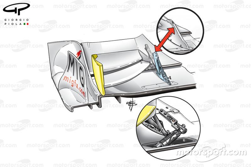 Brawn BGP 001 2009 front wing flap adjuster detail