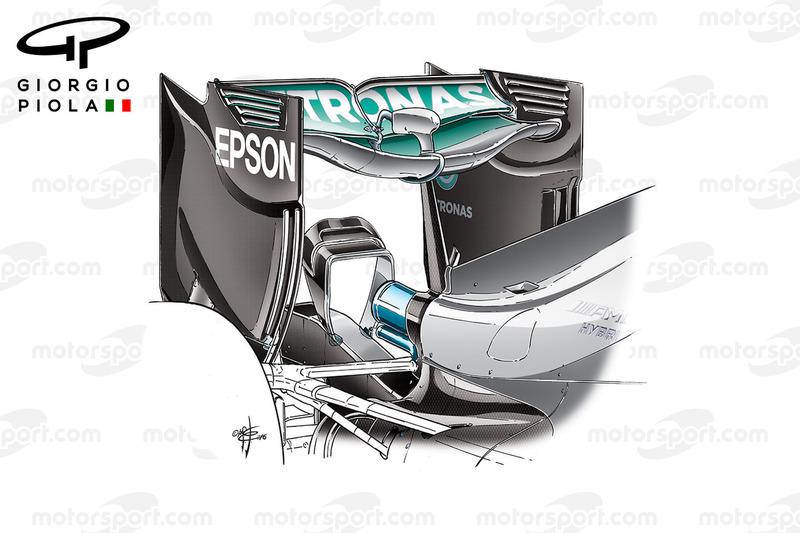 Mercedes W07 rear wing, Belgium GP