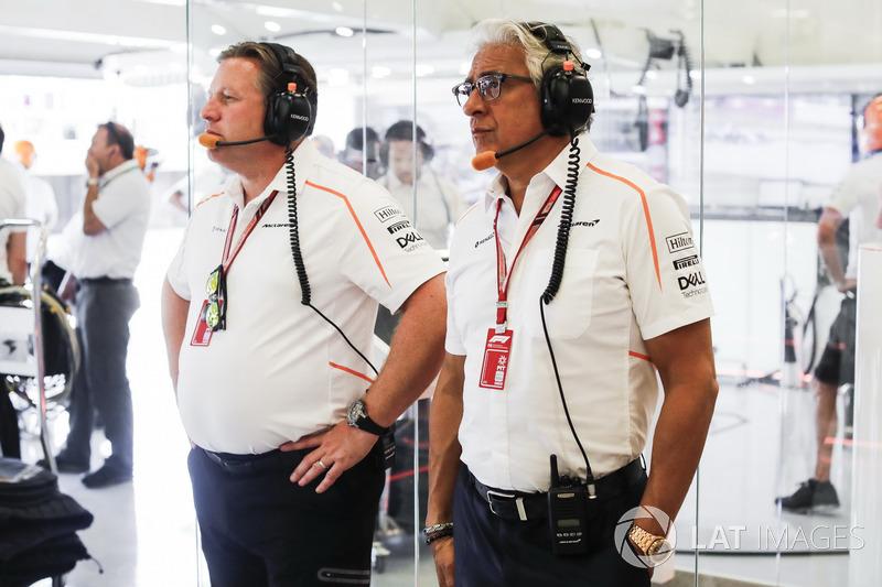 Zak Brown, CEO McLaren Racing, con Michael Latifi, investitore, McLaren