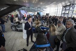Alejandro Agag, Formula E CEO, Founder, CEO of the FIA Formula E Championship talking to the press