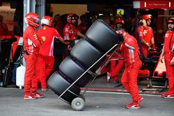 Ferrari mechanics and Pirelli tyres