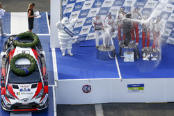 Podium: winners Ott Tanak, Martin Järveoja, Toyota Yaris WRC, Toyota Gazoo Racing, second place Mads Ostberg, Torstein Eriksen, Citroën C3 WRC, Citroën World Rally Team, third place Jari-Matti Latvala, Miikka Anttila, Toyota Yaris WRC, Toyota Gazoo Racing
